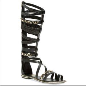 Defoe black studded gladiator sandals